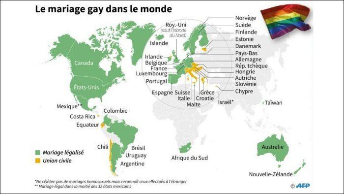 Le mariage gay légalisé dans plus de 25 pays