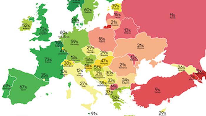 Carte du classement des droits LGBTI en Europe selon l'ILGA